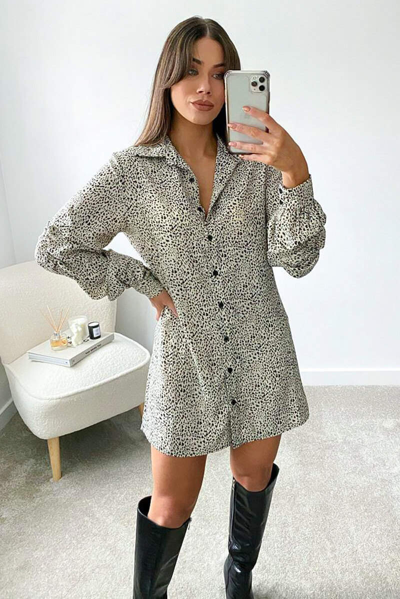 Cream Animal Printed Button up Shirt Dress