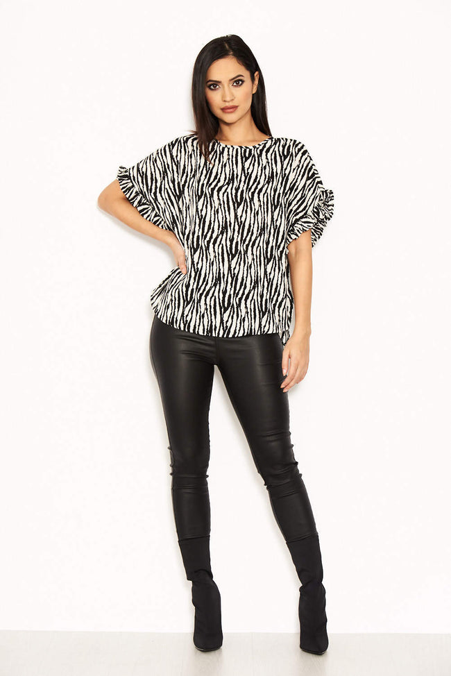 Cream Animal Printed Frill Sleeved Top