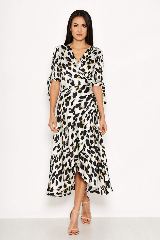 Cream Animal Wrap Print Dress