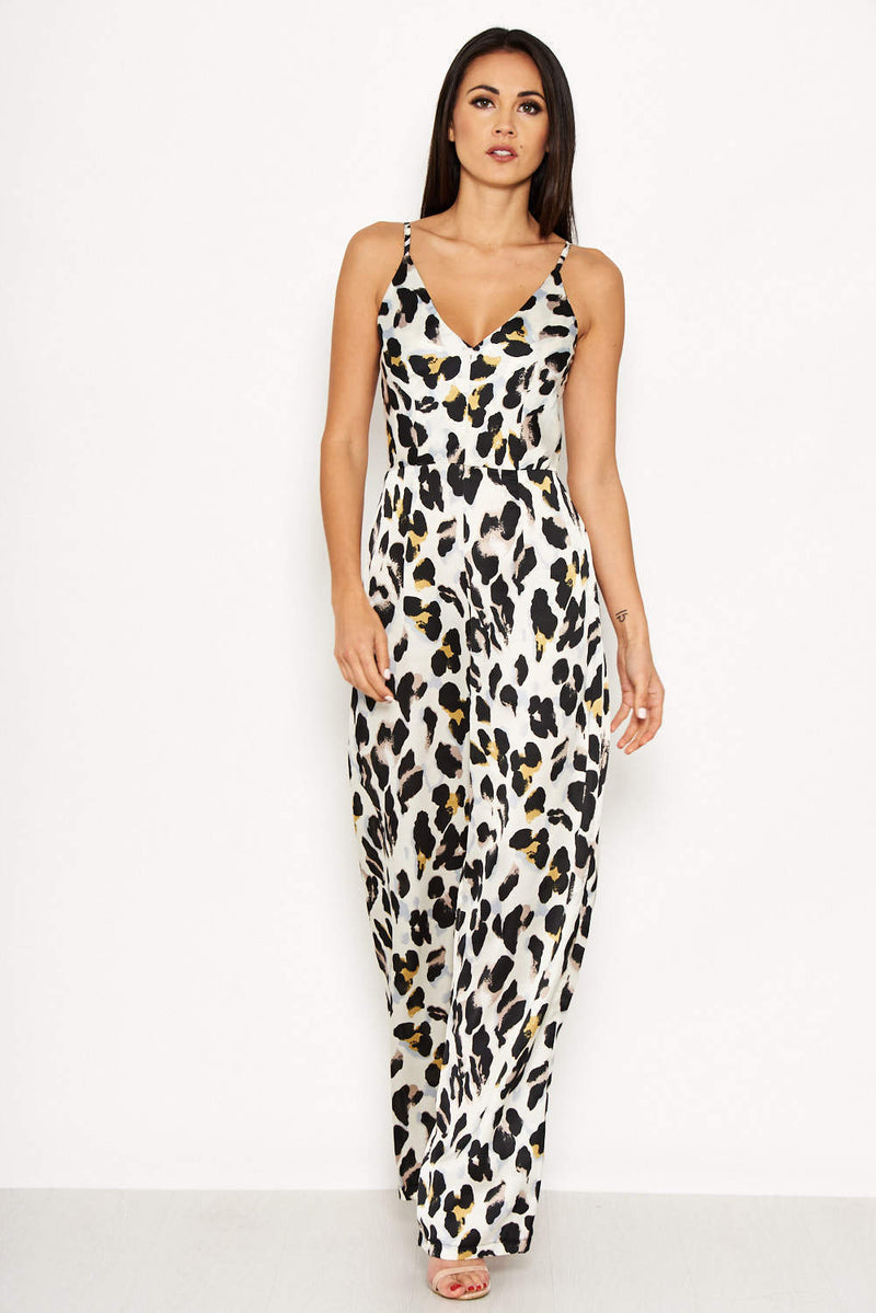 Cream Animal Print V Neck Jumpsuit