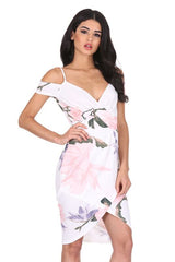 Cream Floral Printed Wrap Dress