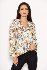 Cream Chain Print Wrap Top