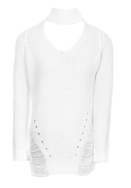 Cream Choker Ladder Cable Knit Jumper