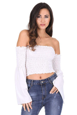 Cream Crop Flare Sleeved Top