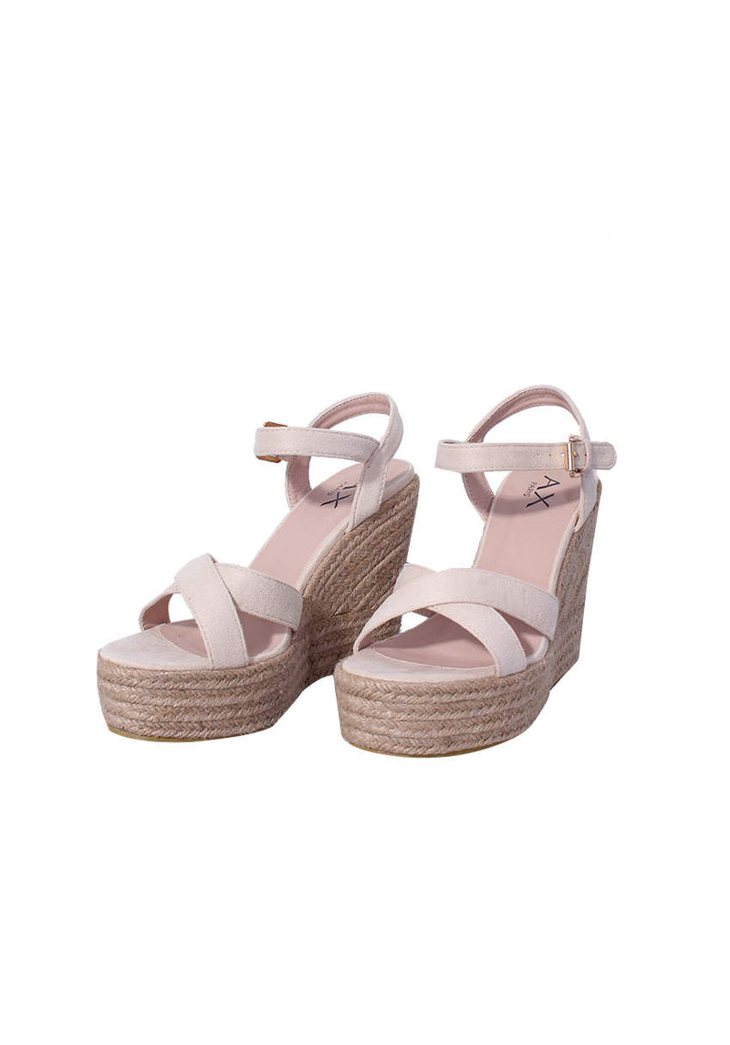 Cream Cross Strap Wedges