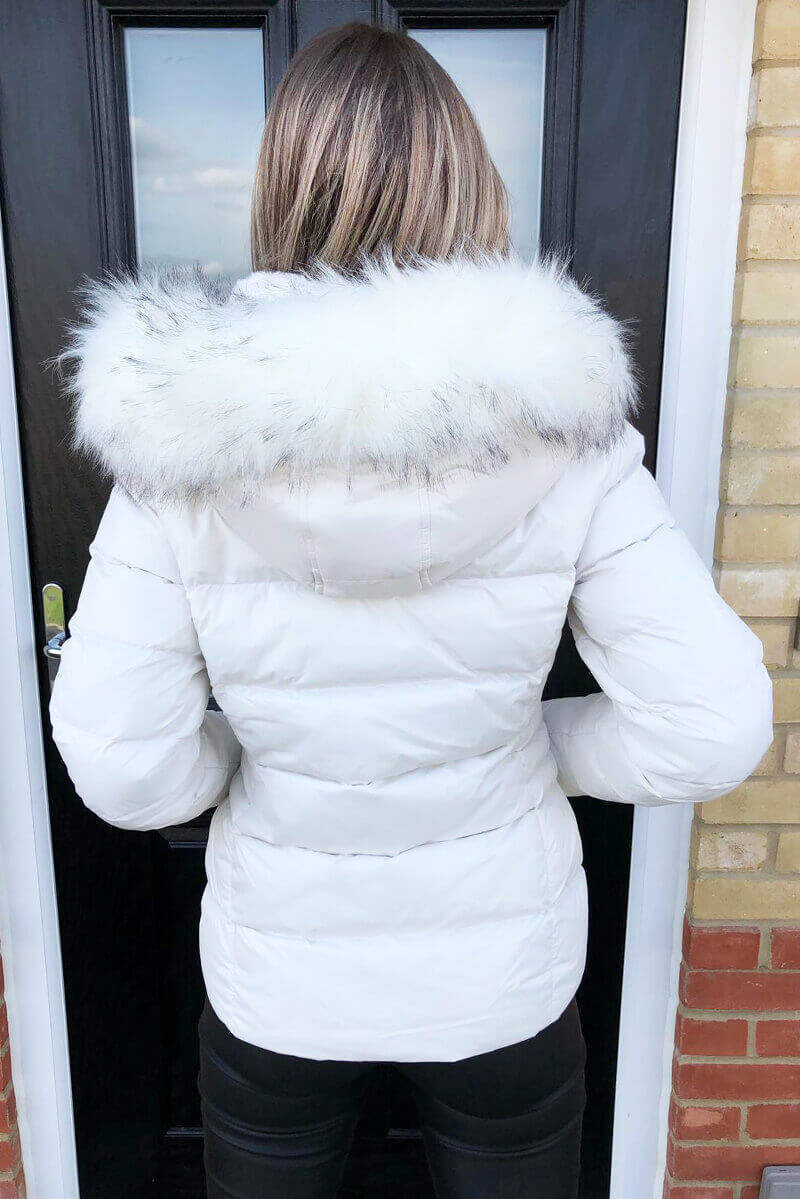 Cream Faux Fur Wet Look Coat