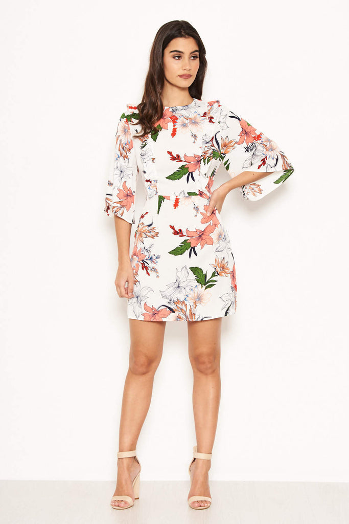Cream Floral Frill Front Dress