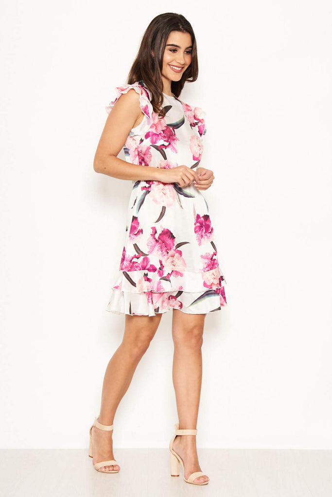 Cream Floral Frill Sleeve Dress