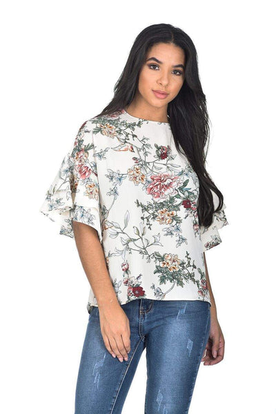 Cream Floral Frill Sleeve Top