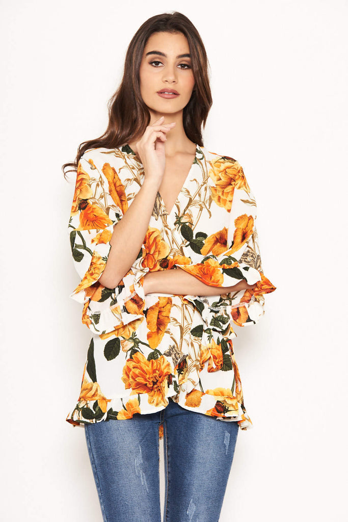 Orange Floral Frill Wrap Top