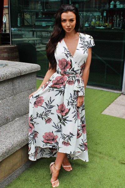 Cream Floral Maxi Wrap Dress