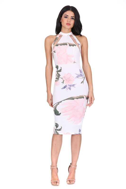 Cream Floral Mesh Bodycon Dress