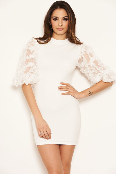 Cream Floral Mesh Sleeve Bodycon Dress