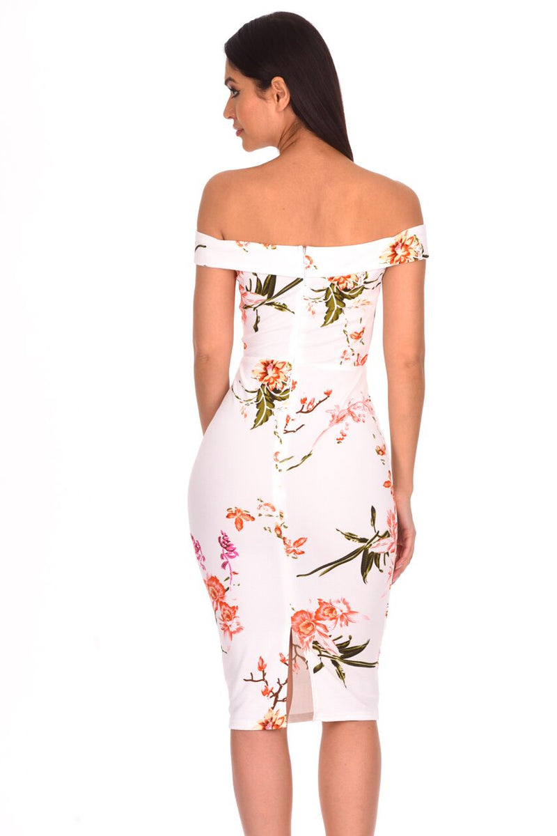 Cream Floral Notch Front Midi Dress