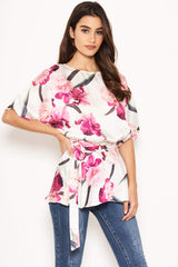 Cream Floral Tie Belt Top
