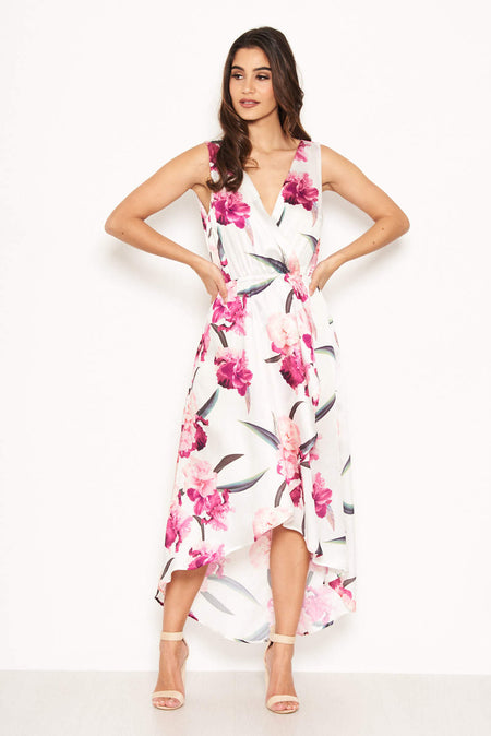 Cream Floral Frill Wrap Dress