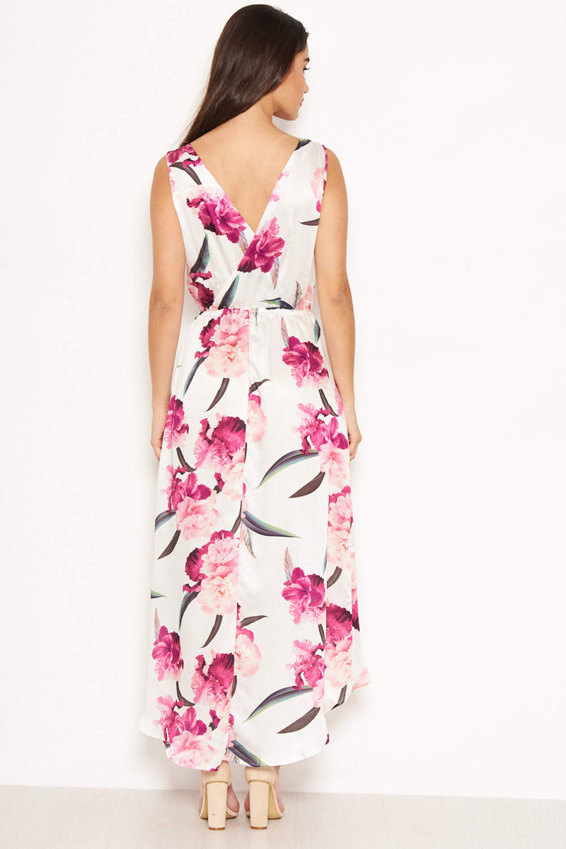 Cream Floral V Neck Maxi Dress