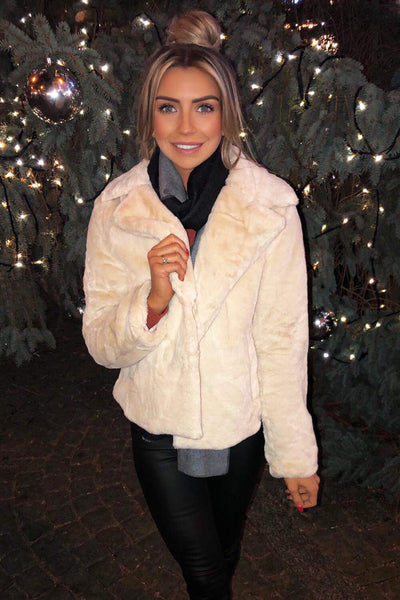 Cream Faux Fur Collared Jacket