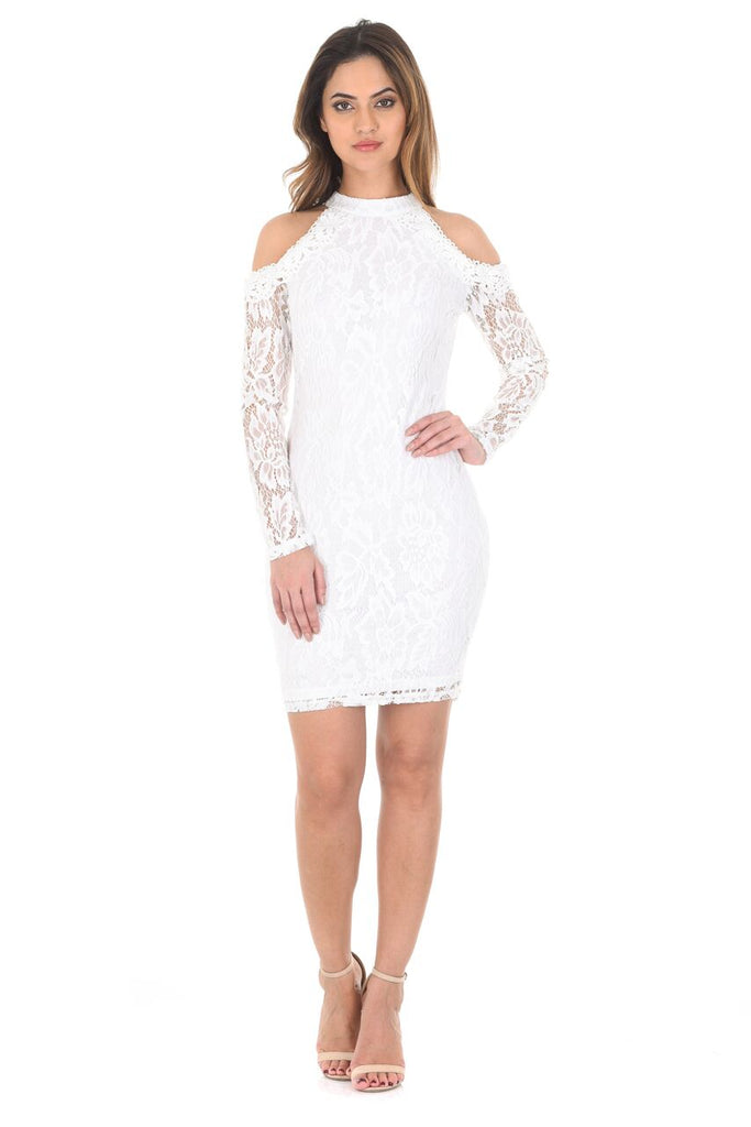 Cream Halter Neck Long Sleeve Cut Out Dress