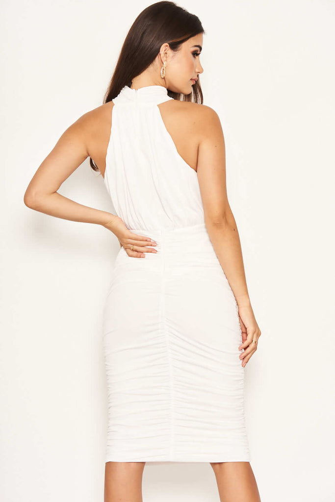 Cream High Neck Ruched Dress