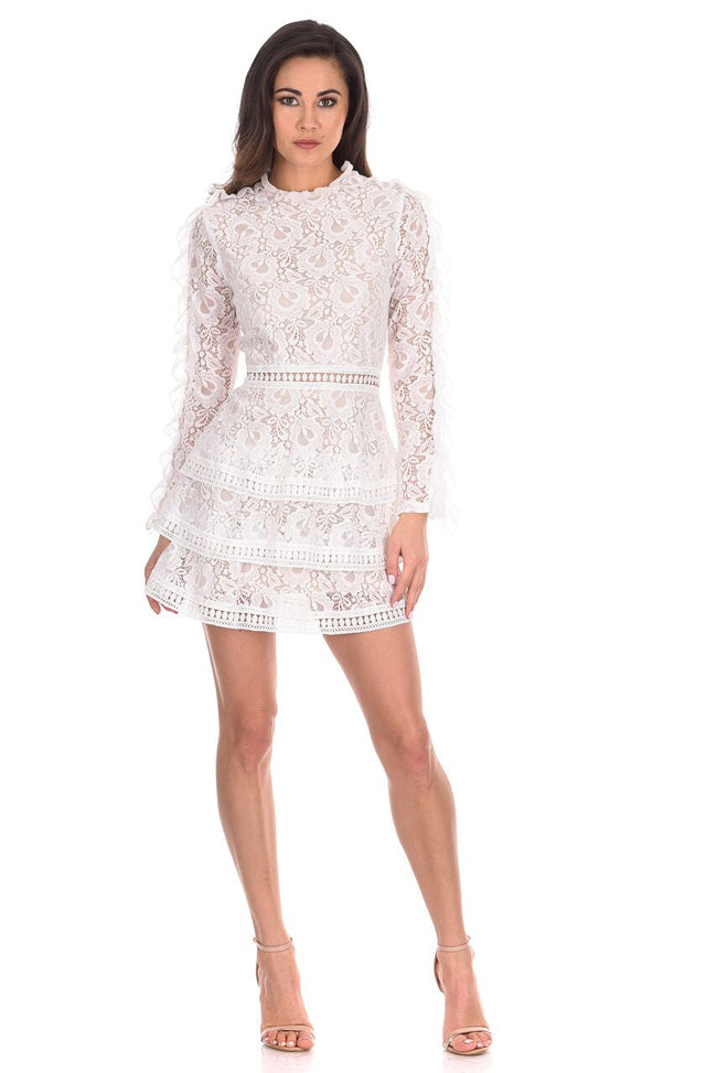 Cream Lace Tiered Mini Dress