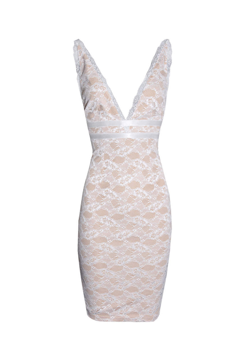 Cream Lace V Neckline Bodycon Dress