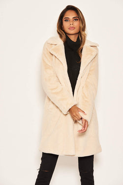 Cream Long Faux Fur Coat
