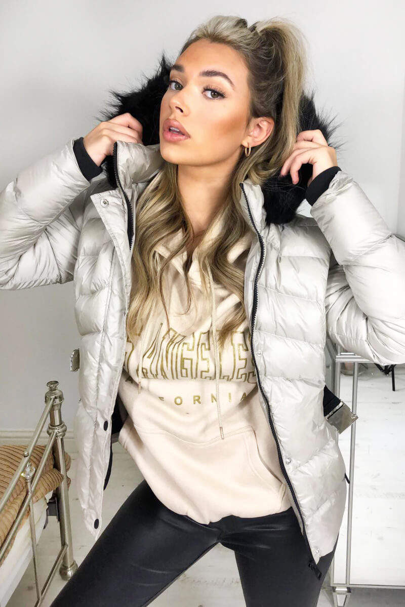 Cream Padded Belted Puffer Jacket