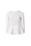 Cream Peplum Knitted Jumper