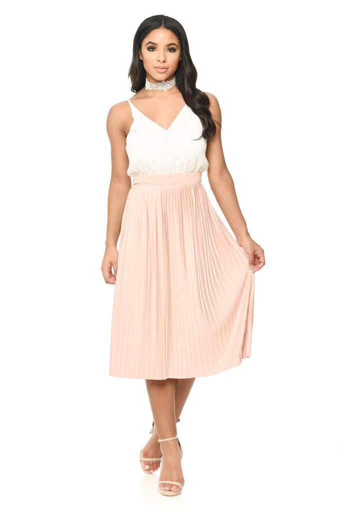 593d4bed0d Cream Pink Contrast Pleated Midi Dress – AX Paris