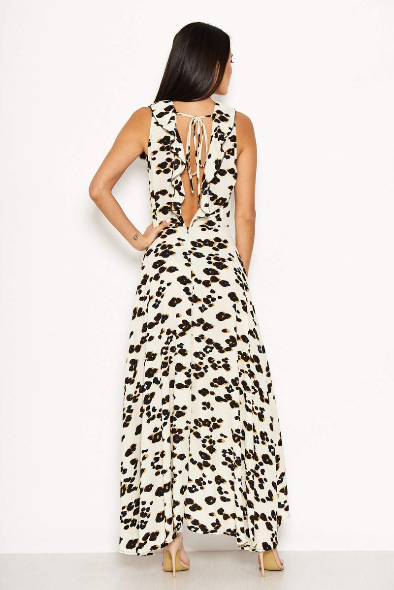 Cream Animal Print Asymmetrical Frill Dress