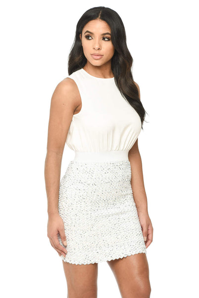 Cream Sequin Embroidered Mini