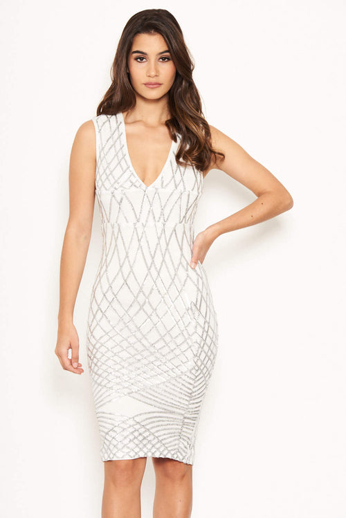 Cream Sequin V Front Bodycon Dress