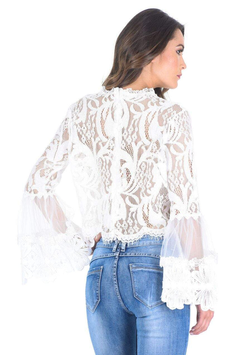 Cream Sheer Lace Long Sleeve Top