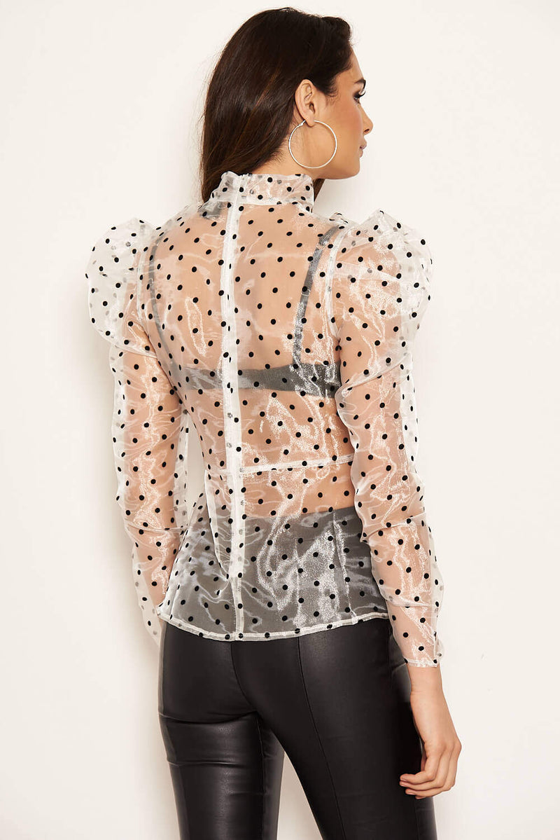 Cream Sheer Polka Dot Puff Sleeve Top