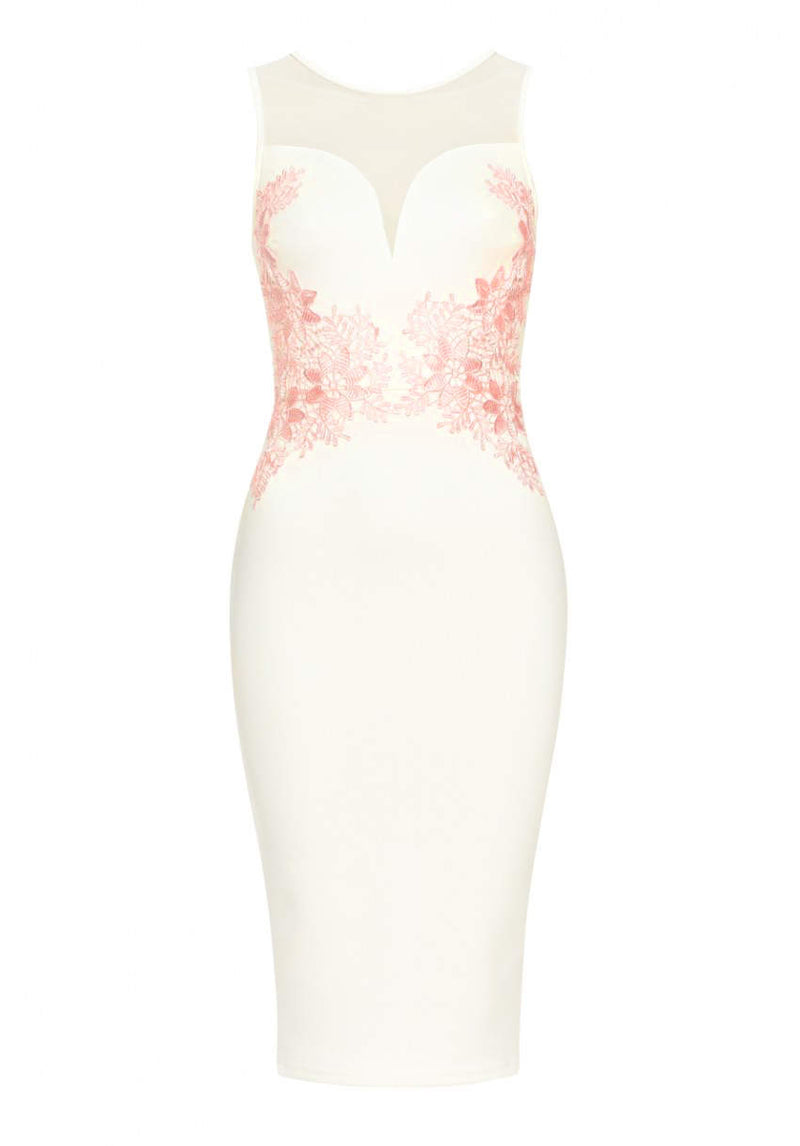 Cream Sheer Top Bodycon With Lace Detail