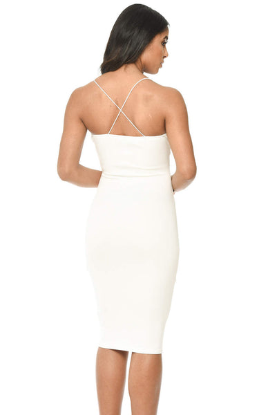 Cream Strappy Embroidered Bodycon Midi Dress