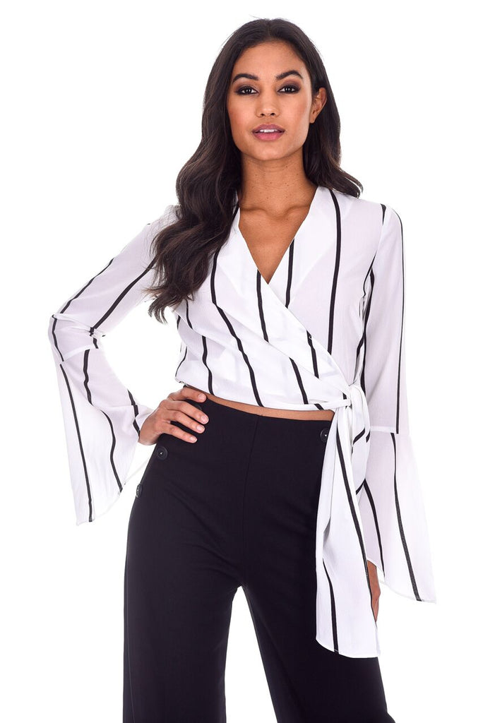 Cream Striped Tie Top