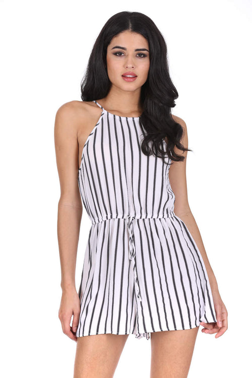 Cream Striped Tie Waist Playsuit