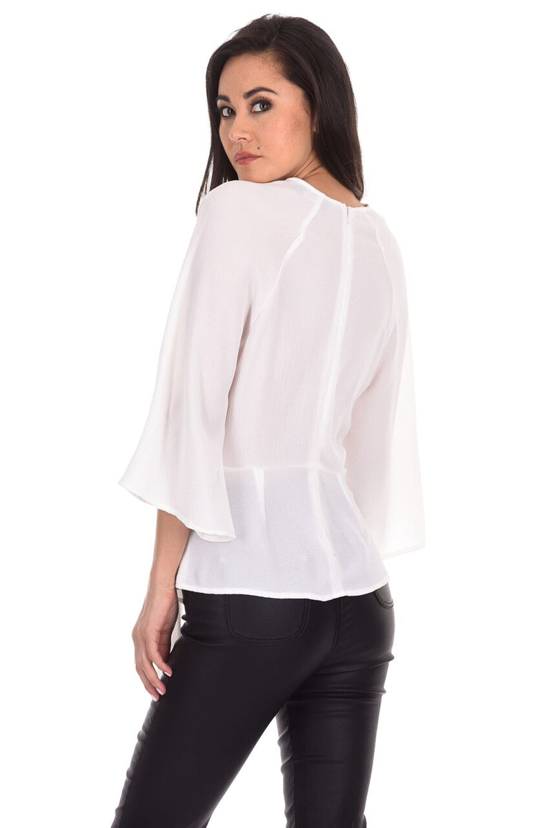 Cream Tie Waist Flared Sleeve Top