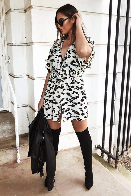 Grey Animal Print Shirt Dress