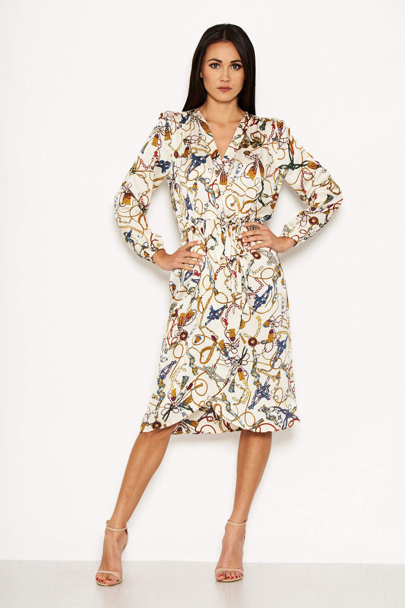 Cream Chain Print Wrap Style Dress