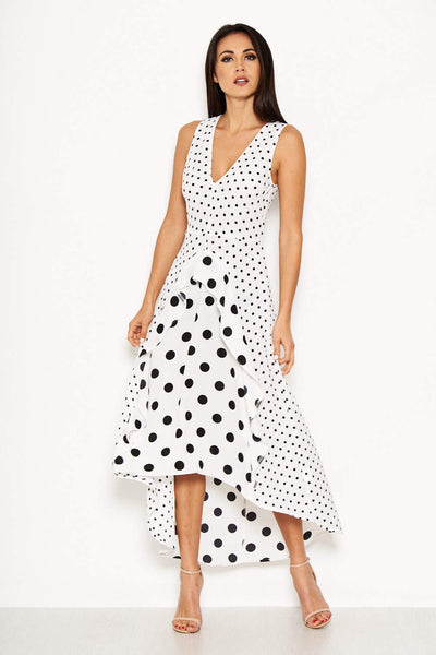 Cream Polka Dot Asymmetric Dress