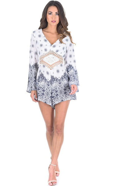 Cream and Blue Crochet Middle Playsuit