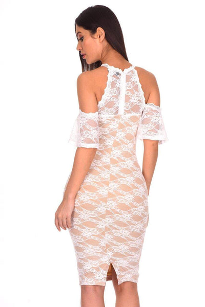 Cream Lace Choker Neck Midi Dress