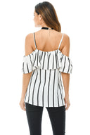 Cream Striped Cold Shoulder Frill Top