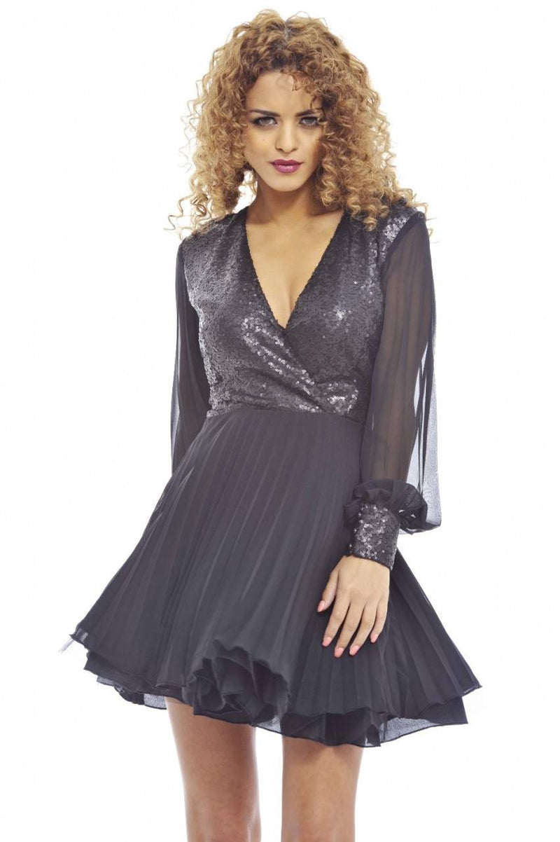 Self Coloured Sequin Kick Out Net Pleat  Dress