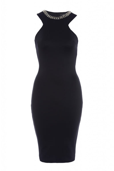 Embellished Neckline Bodycon Dress