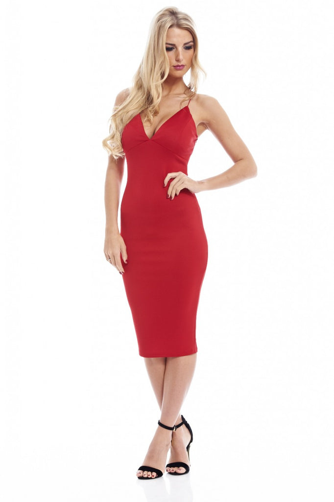 Deep V Front Elasticated Straps Midi Dress
