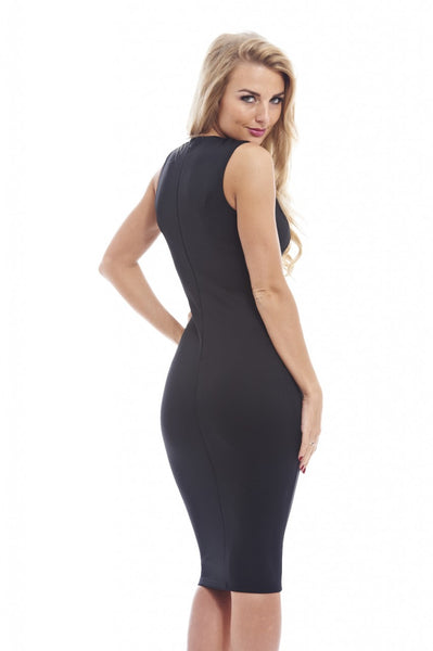 Mesh Insert Plain Midi Dress